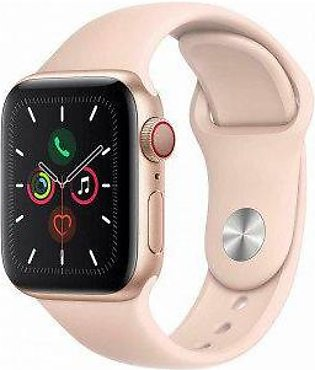 Apple Watch Series 5 GPS + Cellular, 40mm Gold Aluminum Case with Pink Sand S...