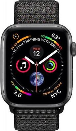 Apple Watch Series 4 MU6E2 44mm Space Gray Aluminum Case With Black Sport Loo...