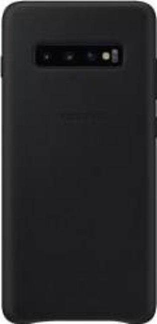 Samsung Galaxy S10 Plus Leather Back Cover- Black/White
