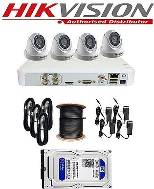 Hikvision Complete Full CCTV Package Dvr 4 Channel 1MP 4 Cameras Hd Quality