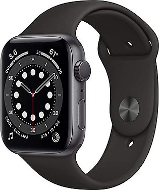 Apple Watch Series 6 (GPS, 44mm) - Space Gray Aluminum Case with Black Sport Ba…