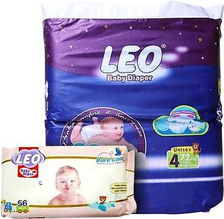 LEO Baby Diaper Size 4 Maxi Large with Baby Wipes
