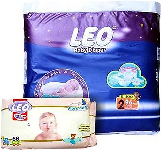 LEO Baby Diaper Size 2 Mini Small With Baby Wipes