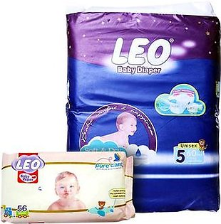 LEO Baby Diaper Size 5 Junior Extra Large With Baby Wipes