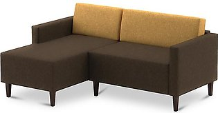 L Shape Sofa Echo Corner Left Chase In Brown And Yellow Colour