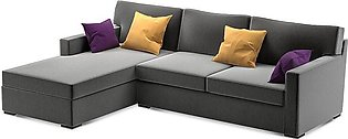 L Shaped Sofa Axis Left Chaise in Grey Colour With Mustard Cushions