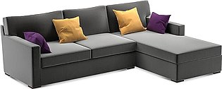 L Shaped Sofa Axis Right Chaise In Grey Colour With Mustard Cushions