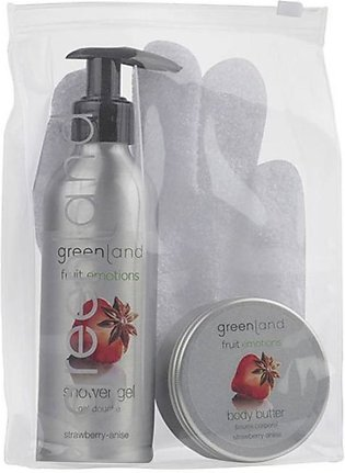 Greenland Bodycare Strawberry Anise Scrub Glove & Shower Gel & Body Butter Pa...