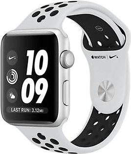 Apple iWatch Nike+ Series 3 42mm Silver Aluminum Case With Platinum/Black Sport Band - GPS (MQL32)
