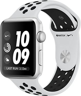 Apple iWatch Nike+ Series 3 42mm Silver Aluminum Case With Platinum/Black Spo...