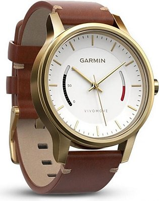 Garmin Vivomove Classic Activity Tracking Watch Gold Tune with Leather Band