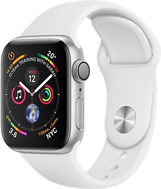 Apple iWatch Series 4 40mm Silver Aluminum Case With White Sport Band - GPS (...