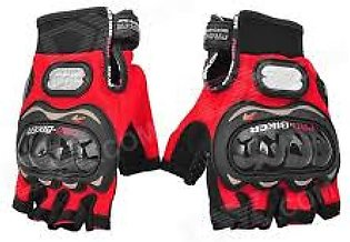 Lahore Auto Line Half Finger Cut Pro-Biker Protector Gloves Red