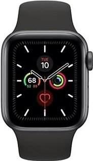 Apple Watch Series 5 44mm Space Gray Aluminum Case with Black Sport Band - GPS