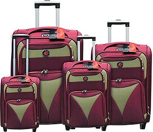 Red Dot 2W Trolley Bag 4 Pcs Set Red