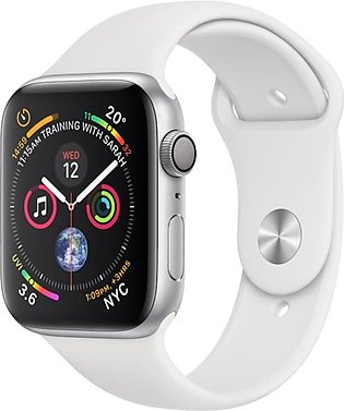 Apple Watch Series 4 44mm Silver Aluminum Case With White Sport Band - GPS (MU6…