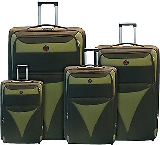 Red Dot 2W Trolley Bag 4 Pcs Set Green