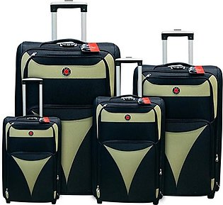 Red Dot 2W Trolley Bag 4 Pcs Set Black