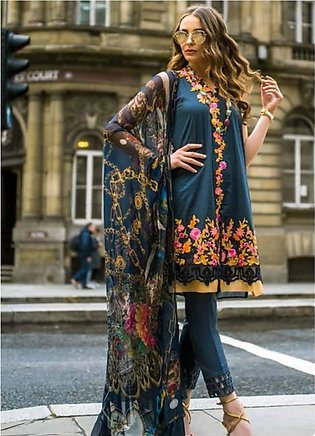 Mina Hasan Luxury Embroidered 3 Piece Lawn Festive Collection 2019 (MH-1B)