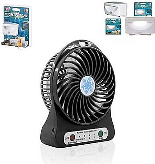 Rubian Mighty LED Light With Rechargeable Fan Pack Of 2