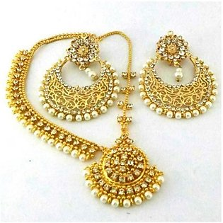 SaharCollection4u Pearl Earrings With Matha Patti Golden (0050)