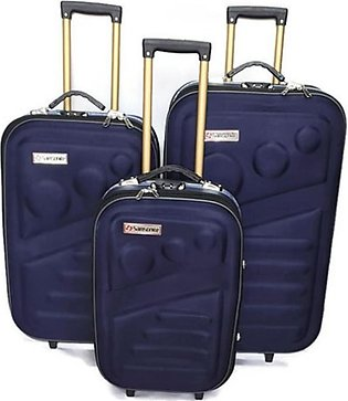 Kashif Luggage Travel Trolley Bag Blue Pack Of 3
