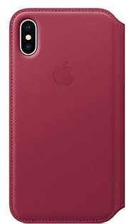 Apple Leather Folio Case For iPhone X - Berry