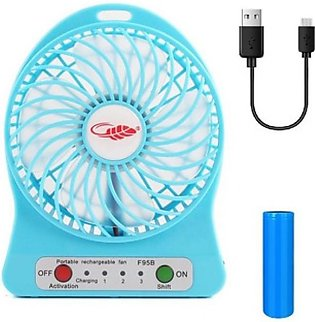 USB Portable Rechargeable Fan For Summer Season Blue