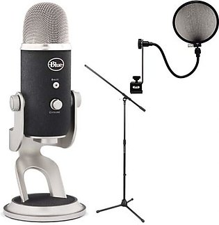 Blue Microphones Yeti Pro Multipattern+ Boom Microphone Stand + Pop Microphon...