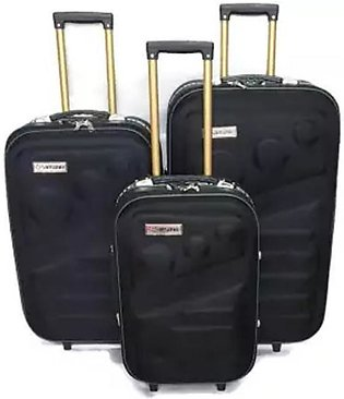 Kashif Luggage Travel Trolley Bag Black Pack Of 3