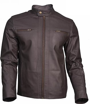 Rubian Store Leather Jacket For Men - Grey (0560)