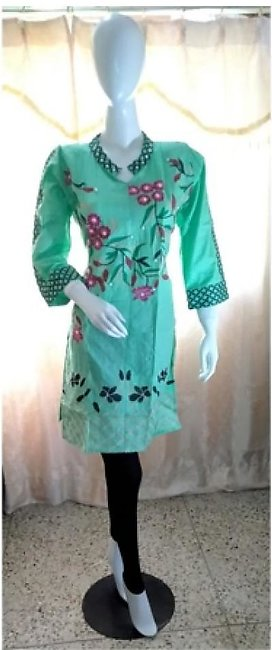 ASH Collection Embroidered Kurti For Women Pista Green