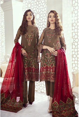 Iznik Imperial Dreams Chiffon Collection 3 Piece Garnet Ash (ID-08)