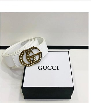 KK Accessories Gucci High Quality Leather Belt For Women White