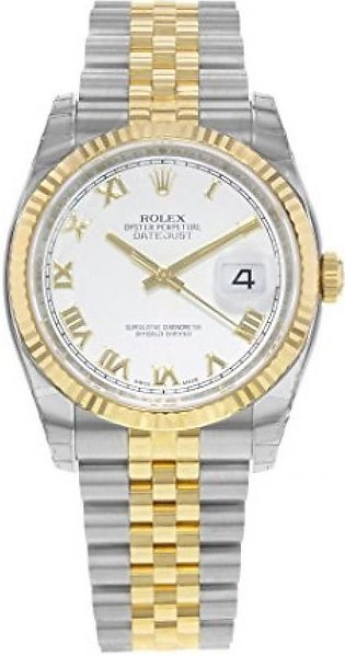 Rolex Datejust 36 Men's Watch Yellow Gold (116233-WHTRJ)