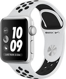 Apple iWatch Nike+ Series 3 38mm Silver Aluminum Case With Platinum/Black Sport Band - GPS (MQKX2)