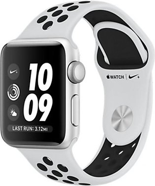 Apple iWatch Nike+ Series 3 38mm Silver Aluminum Case With Platinum/Black Spo...