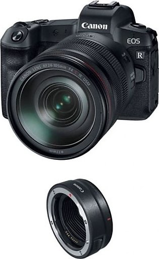Canon EOS R Mirrorless Digital Camera with 24-105mm Lens and Mount Adapter - ...