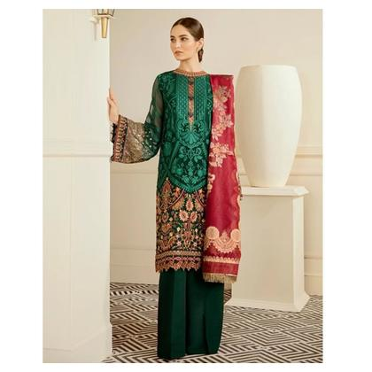 Baroque Chantelle Embroidered Chiffon Collection 3 Piece (Emerald)