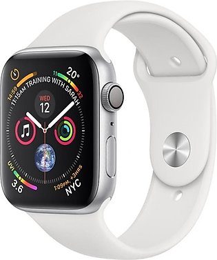 Apple iWatch Series 4 44mm Silver Aluminum Case With White Sport Band - GPS (...