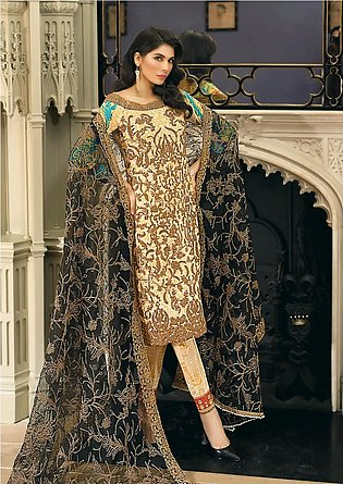 Asim Jofa Embroidered Luxury Lawn Collection 2018 Beige (AJL-12B)