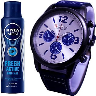 Kureshi Collections Analog Watch And Nivea Fresh Active Body Spray For Men Pa...