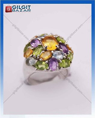Gilgit Bazar Topaz and Peridot Stone Ring For Women (GB1148)
