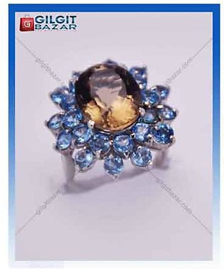 Gilgit Bazar Topaz and Peridot Stone Ring For Women (GB1147)