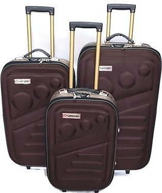 Kashif Luggage Travel Trolley Bag Brown Pack Of 3