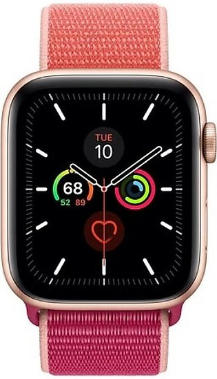 Apple Watch Series 5 44mm Gold Aluminum Case With Pomegranate Sport Loop - GP...