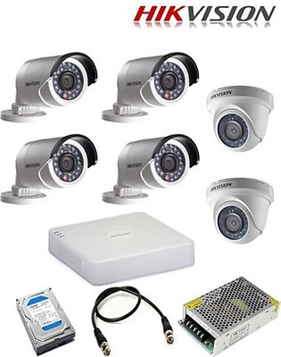 Hikvision 720P 1MP CCTV Cameras Pack Of 6 With High Performance DVR