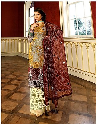 Asim Jofa Embroidered Luxury Lawn Collection 2018 Mustard (AJL-08A)