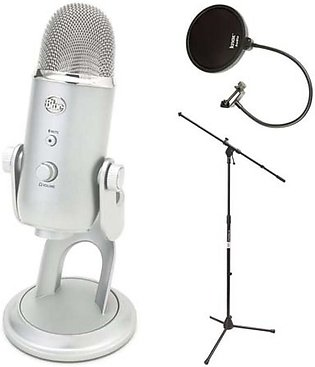 Blue Microphones Yeti USB Microphone with Boom Microphone Stand and Knox Pop ...