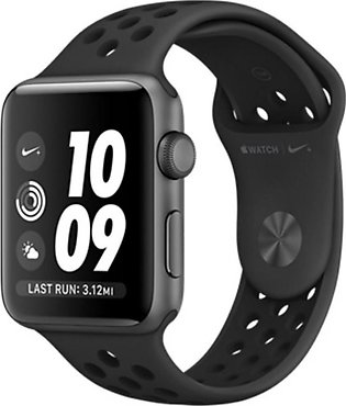 Apple iWatch Nike+ Series 3 42mm Space Gray Aluminum Case With Anthracite/Bla...